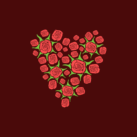vector illustration of a heart of scattered roses