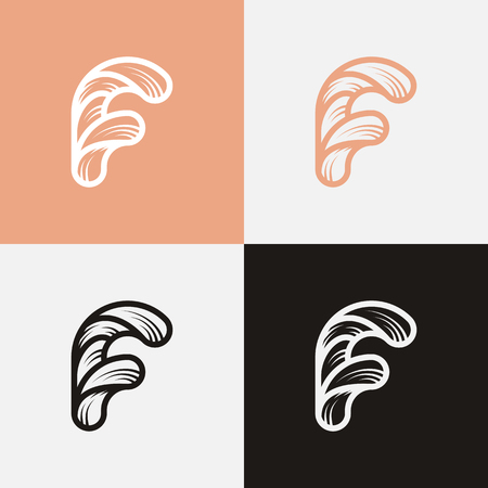 vector logo in the form of the letter F in different colors