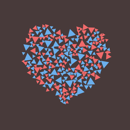 vector heart of scattered blue and red triangles Ilustrace