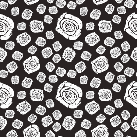 vector monochrome rose seamless pattern of roses