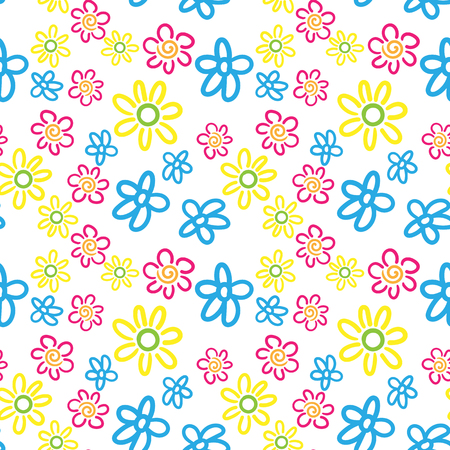 Seamless vector pattern of multicolored hand-drawn flowers