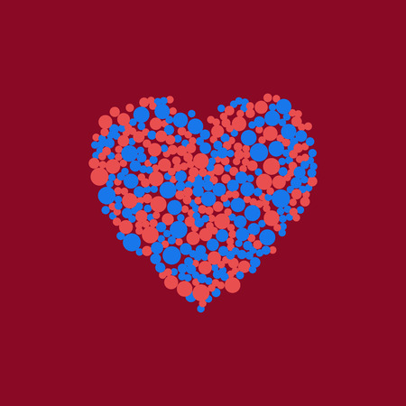 vector heart of red and blue scattered circles Ilustrace