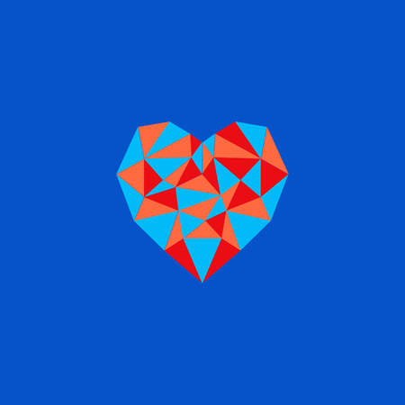 vector sign polygonal heart of triangles simple illustration