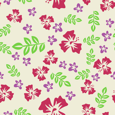 vector seamless pattern of purple and red flowers Ilustrace