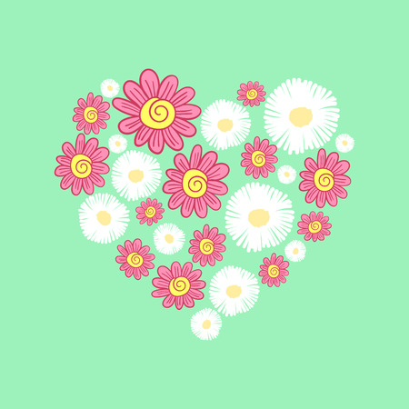 vector illustration of a heart of white and red flowers Ilustrace