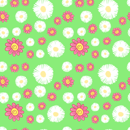 vector seamless pattern of white and red flowers