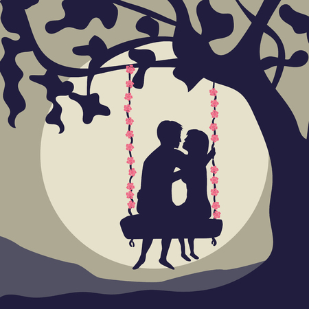 Lovers ride on a swing vector illustration