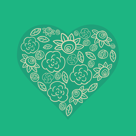 monochromatic illustration of heart from flowers in vector