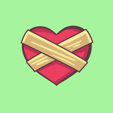 vector illustration of a closed heart boarded up
