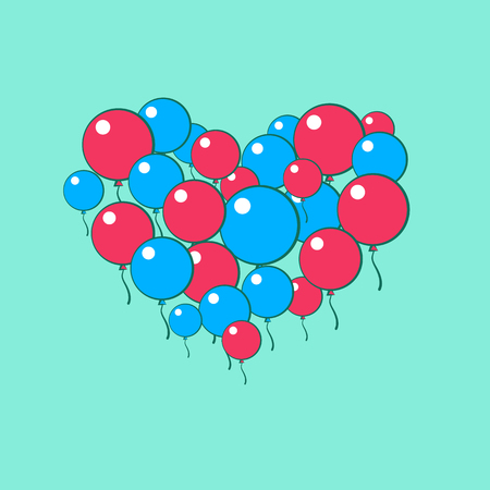 Heart of blue and red balls. Vector illustration Ilustrace
