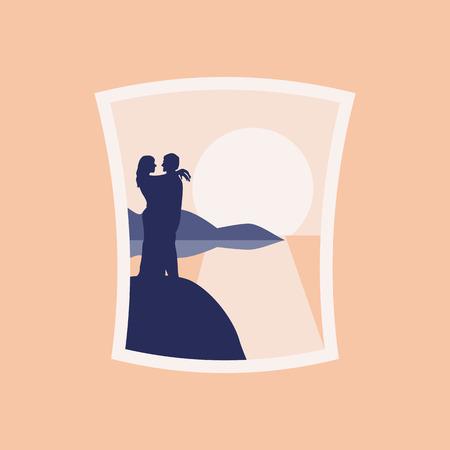 Loving on the beach hugging vector mural illustration Ilustração