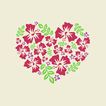 vector illustration of a heart of purple and red flowers Ilustrace