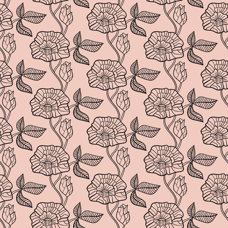 black white illustration seamless pattern of flowers in vector Ilustração