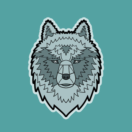 vector color cartoon isolated illustration of a wolf head Ilustrace