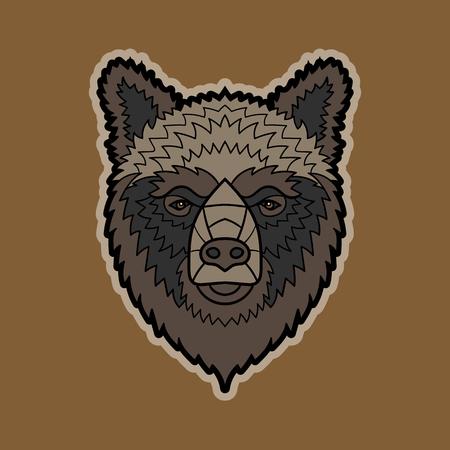 vector color cartoon isolated illustration of a bear head Ilustração