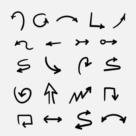 set of vector drawn simple monochrome arrows