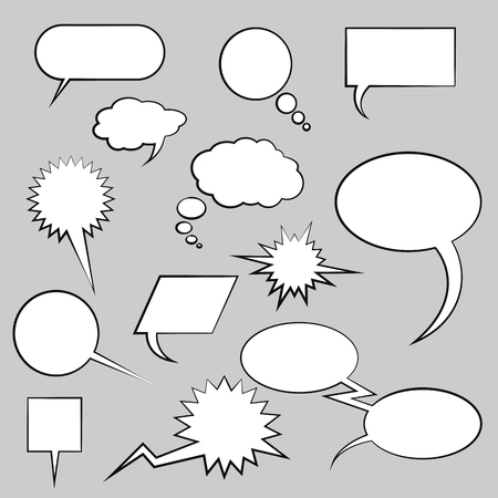 set of vector comic clouds for speech design Ilustração