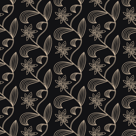 Floral seamless vector two-color background for textile design