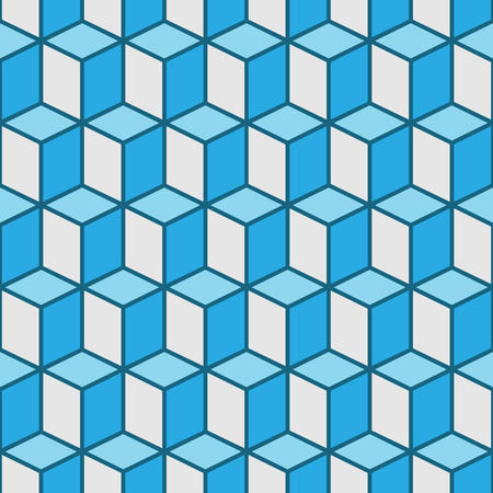 vector seamless pattern of blue cubes with lines