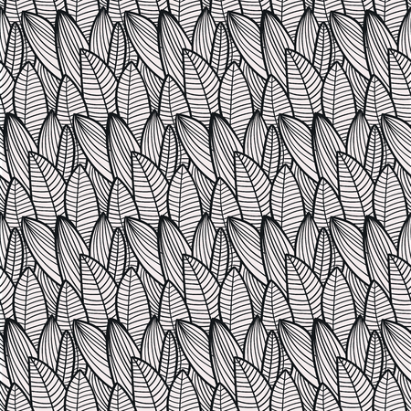 vector one-color seamless pattern of leaves for decoration and textiles Ilustrace