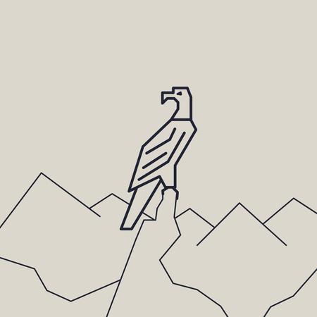 geometric vector linear monochrome illustration of a eagle
