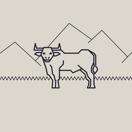 geometric vector linear monochrome illustration of a bull