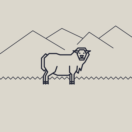 geometric vector monochrome illustration of a sheep Ilustração