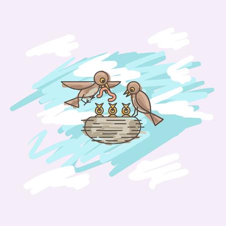 vector color illustration of birds feed chicks