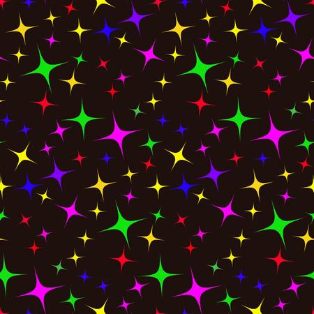 vector dark seamless pattern of multicolored stars