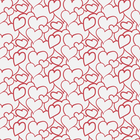 vector seamless pattern of linear hand-drawn hearts
