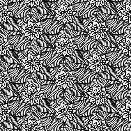 monochrome seamless pattern of flowers and leaves