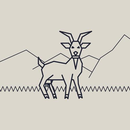 geometric vector monochrome illustration of  a goat