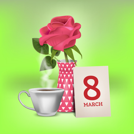 Realistic Ilustration Banner card for International Womens Day