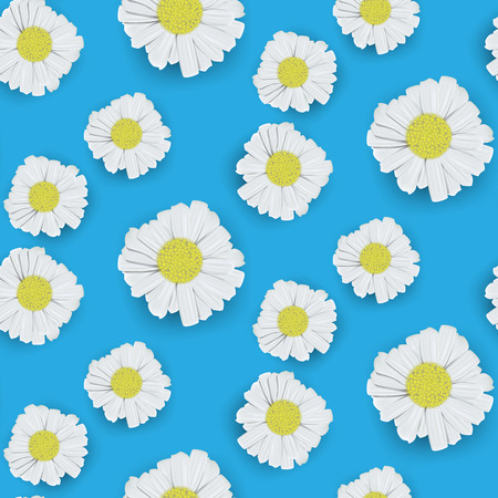 Seamless background of realistic daisies illustrations in vector