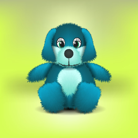 realistic vector illustration of a blue plush dog