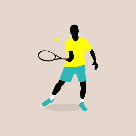 stylish illustration of a tennis player in vector