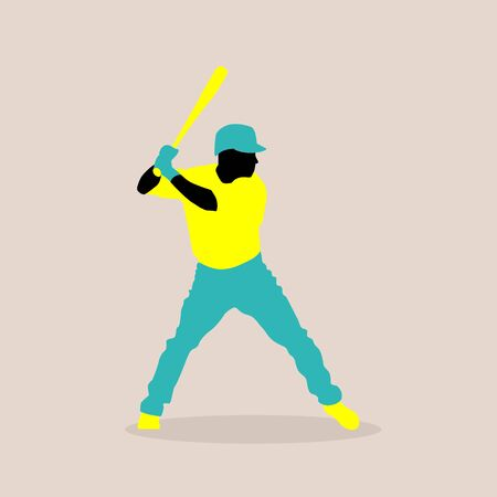 stylish illustration of a baseball player in vector