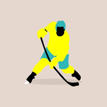 stylish illustration of a hockey player in vector