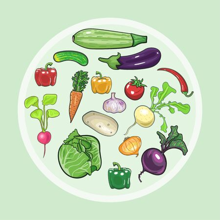 Vector vegetables icons set in cartoon style. Collection farm product for restaurant menu, market label. Ilustração
