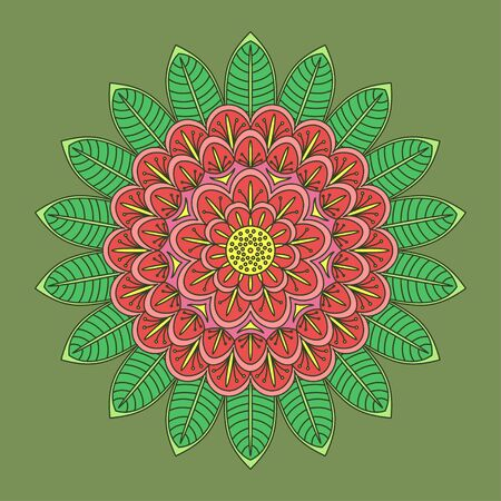 Mandala. Islam, Arabic, Asian ornamental motifs. Multicolor circular element. Decorative detail for ornaments. Different color decisions