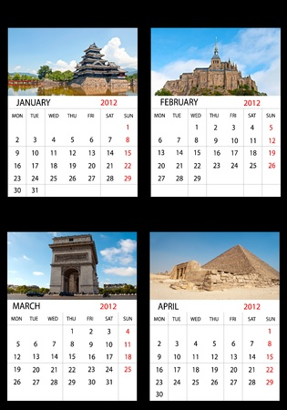 Calendar January, February, March, April 2012 English  photo