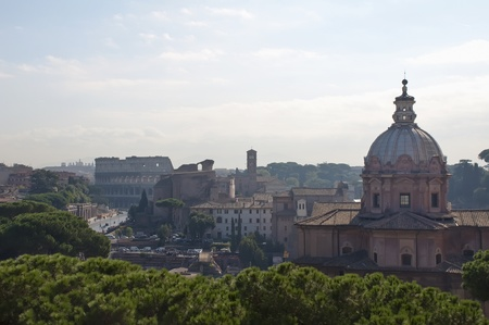 Overview of Rome with the Colosseum in the background  photo