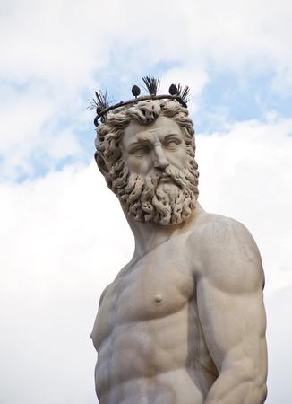 sculptures: The fountain of Neptune by Bartolomeo Ammannati, in the Piazza della Signoria, Florence, Italy  Stock Photo