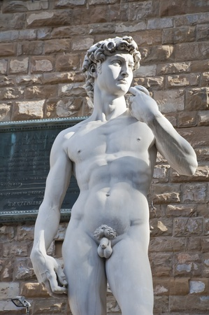 A copy of the statue standing in the original location of David, in front of the Palazzo Vecchio in Florence.  photo