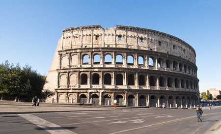View of the facade of the Roman Coliseum in Rome, Italy