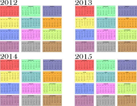 Calendar year in English 2012-2013-2014-2015  Vector