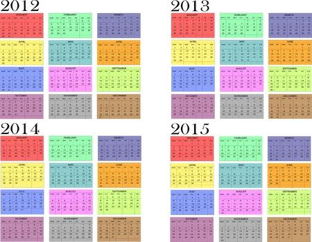 Calendario a�o en Ingl�s 2012-2013-2014-2015