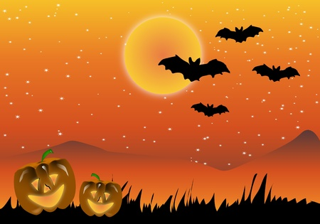 Abstract background with pumpkins and bats Halloween Vector