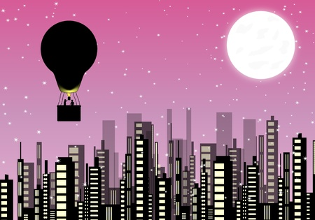 Balloon flying over the city Vector