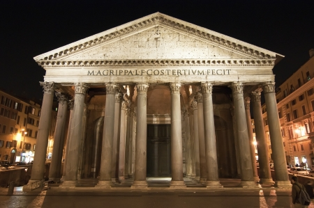 dedicated: Night view of the Pantheon in Rome in Italy.  It is a circular temple built in Rome in the early Roman Empire, dedicated to all the gods